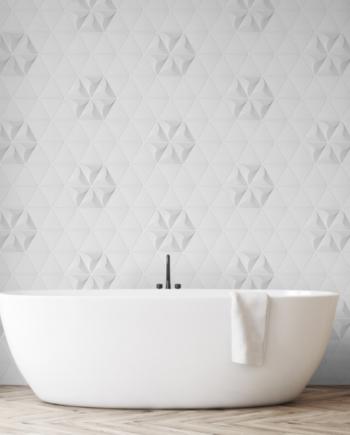 salle de bain avec de la céramique blanche effet 3d